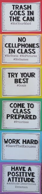 Classroom Rules Poster with hashtags #classroomrules