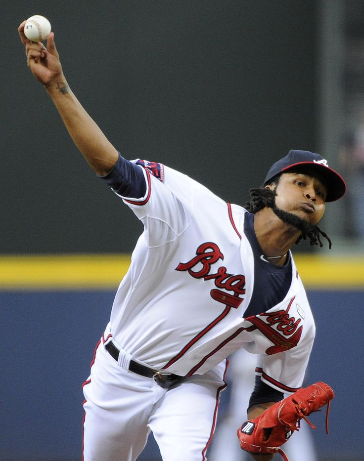 Atlanta Braves pitcher Ervin Santana delivers to the Washington Nationals during the first inning of a baseball game.