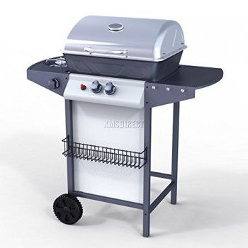FoxHunter Garden Outdoor Portable BBQ Gas Grill Stainless Steel 2 Burner Barbecue + 1 Side Burner With Thermometer New