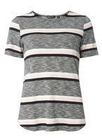 Womens Grey Stripe Curve Hem T-Shirt- Blue