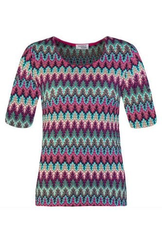TShirt top 1970s multicolour print zig zag van het merk Sommermann met korte mouwen en een ronde hals. Het shirt is gehaakt in een kleurrijk, sierlijk, zigzag dessin. Combineer het shirt met het bijpassende vest.