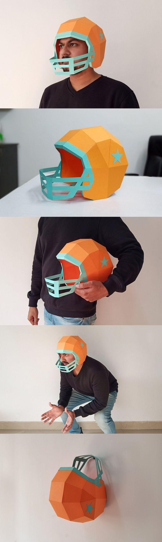 Diy football helmet 3d papercraft football diy