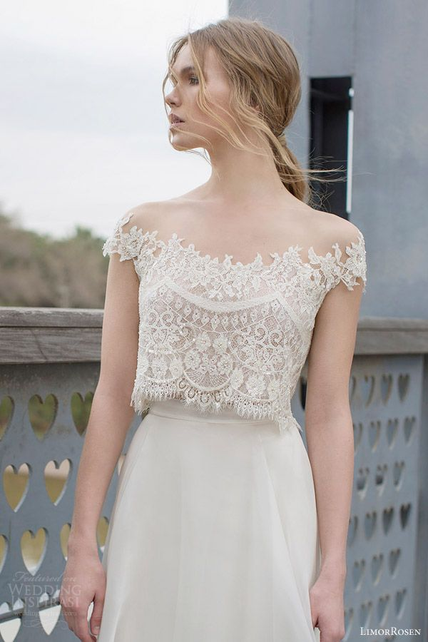 diana two piece wedding dress crop lace cap sleeve top a line skirt close up off shoulder bodice