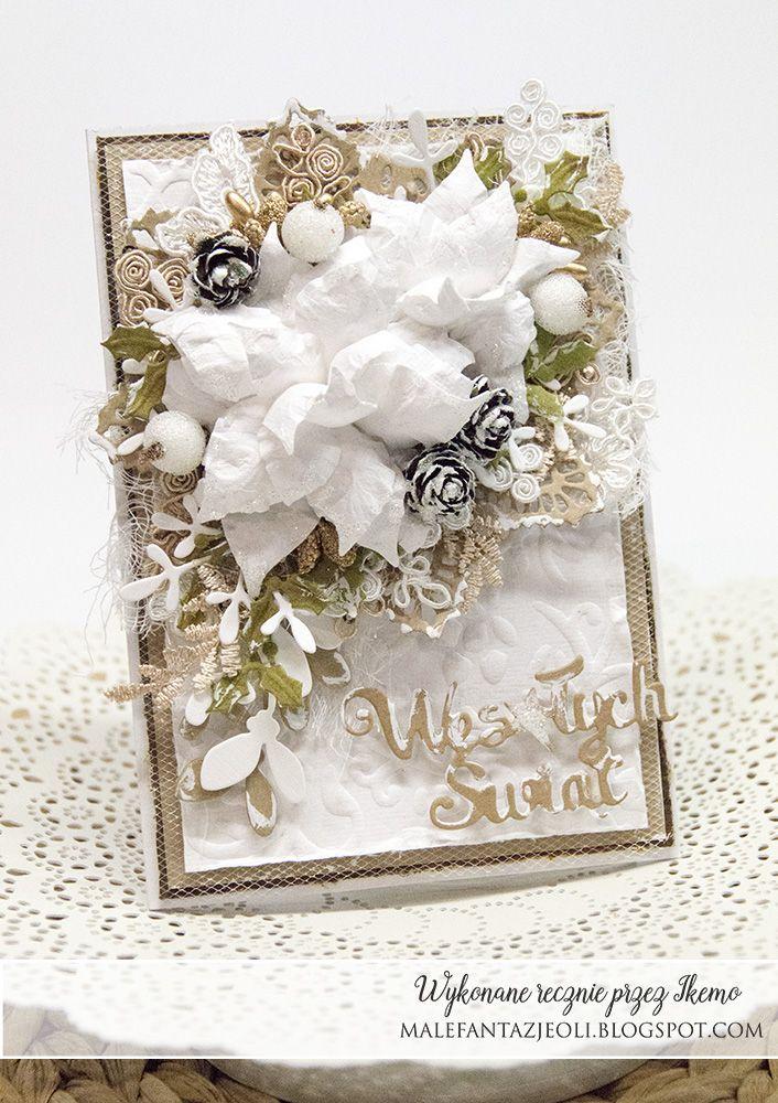 Witam,   przedstawiam Wam dziś niby prostą kartkę z dwoma kwiatami, ale jednak pełną wszystkiego. Jako tło posłużył mi biały papier czerpan...