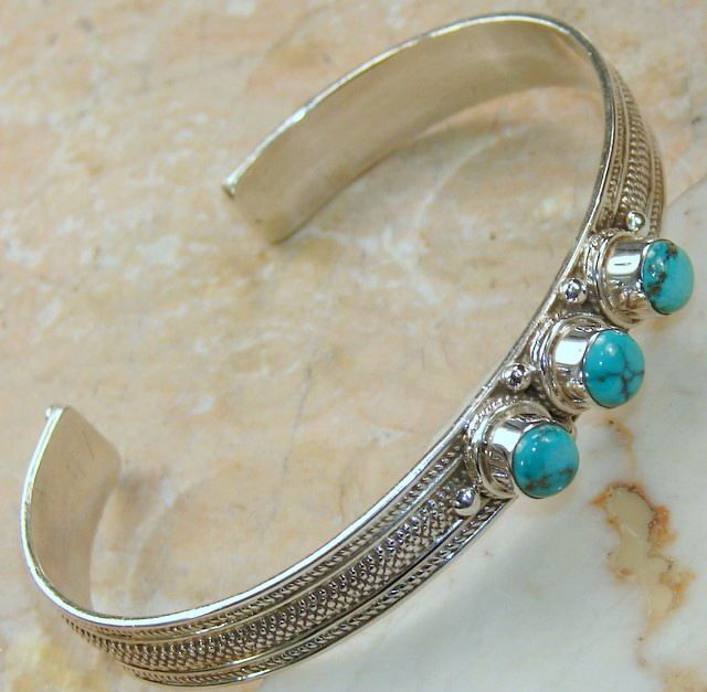 Natural Turquoise Sterling Silver Cuff Bracelet : Turquoise Cuff Bracelet