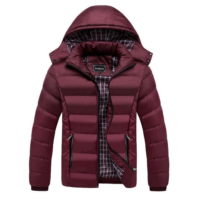 Warm Cotton-Padded Parka Winter Mens Coats Jackets Thick Warm Solid Color Mens Coat