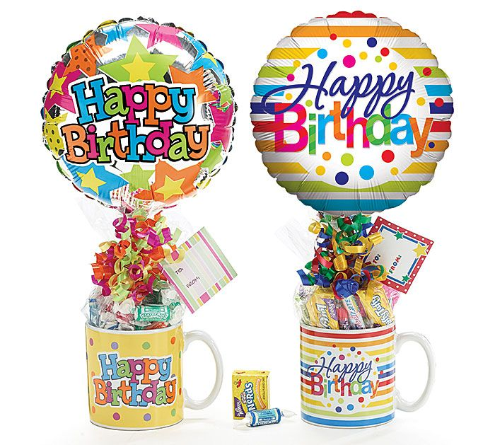 """Happy Birthday premade gift assortment includes ceramic mug, candy, preinflated 9"""" foil balloon, ribbon curls,   gift tag. Assortments are subject to substitutions."""