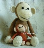 Pattern of big crocheted monkey  Free pattern with easy to read instruction.