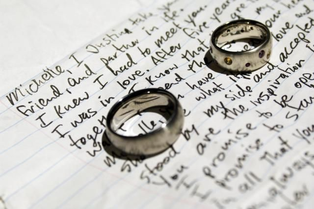 Writing your own personalized wedding vows can be a daunting task, but it's not quite as hard as it looks. Here are six easy steps that you can follow to write your own wedding vows.