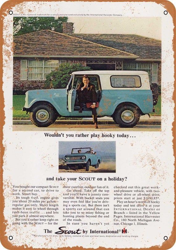 Vintage Look Reproduction 1964 International Scout Lineup Metal Sign
