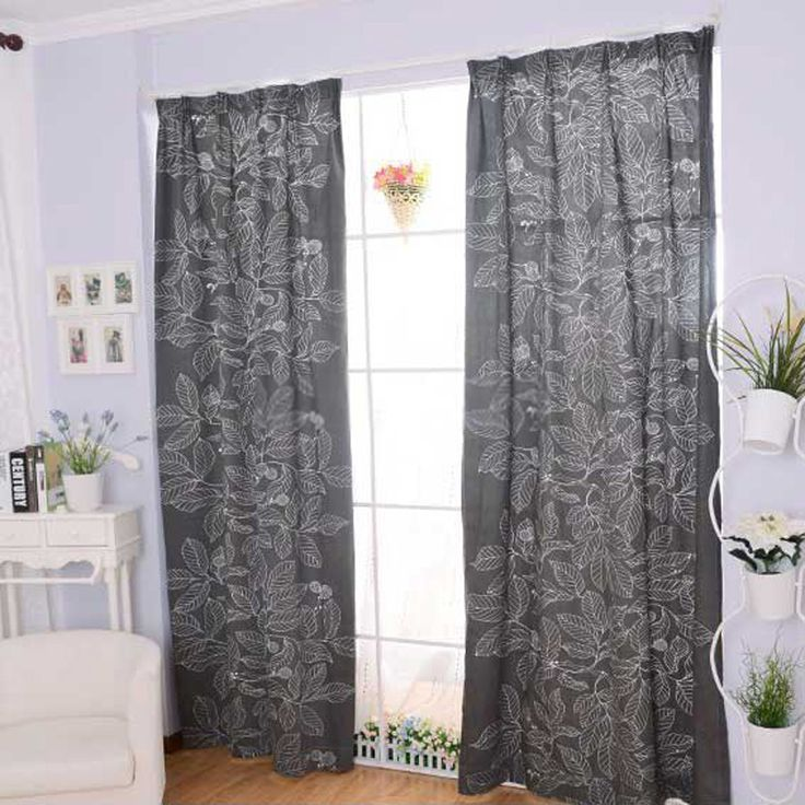 Cotton Dark Grey Curtains For Living Room