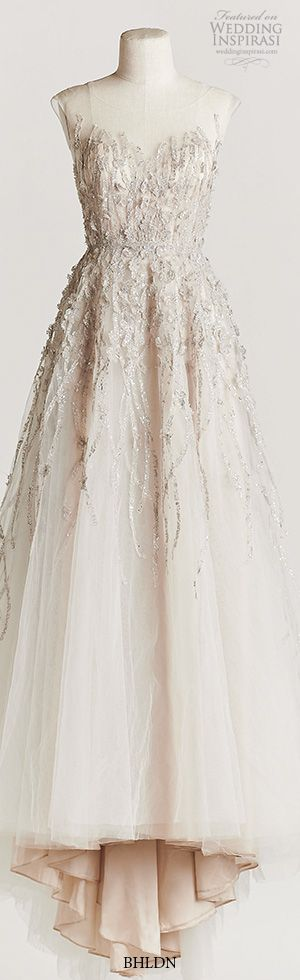 bhldn spring 2015 wisteria beaded bodice A-line wedding dress illusion neckline…