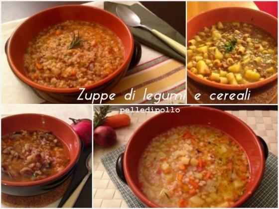 Raccolta di zuppe di legumi e cereali