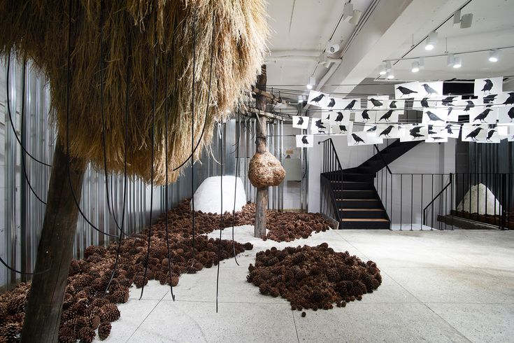 GENTLE MONSTER Sinsa, Seoul, South Korea  Sinsa space, is based on a story of 'The White Crow' The story of a flock of crows , invaded and taken away from their home are told sequentially following the floors of the space.#gentlemonster #flagship #store #interior #sinsa #garosugil #seoul
