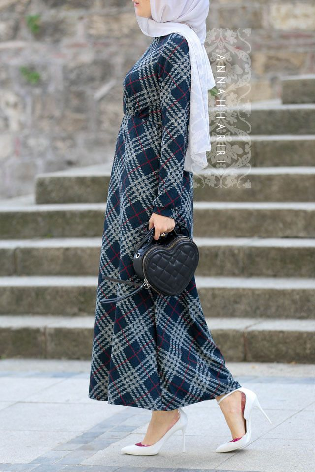 Jersey Plaid Dress | hijab hijabers hijabfashion hijabstyle