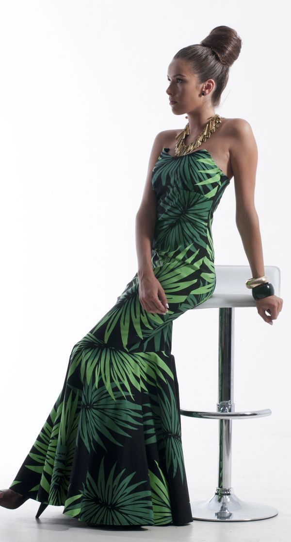 MENA Tropical Palm Print Strapless Gown