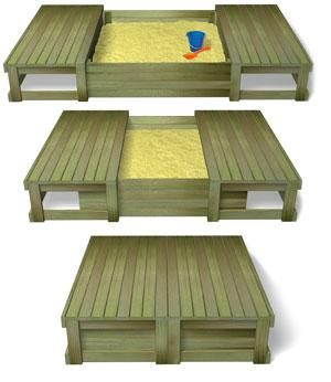 sliding lid sandpit- when kids outgrow it, convert it to a raised garden bed w/ garden benches. You have to have that sand covered if you have cats in the neighborhood!
