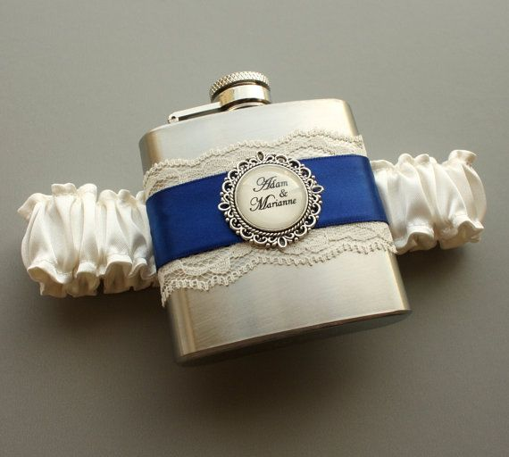 Ivory Wedding Garter Royal Blue Bridal With Flask Something Personalized FLASK GARTER
