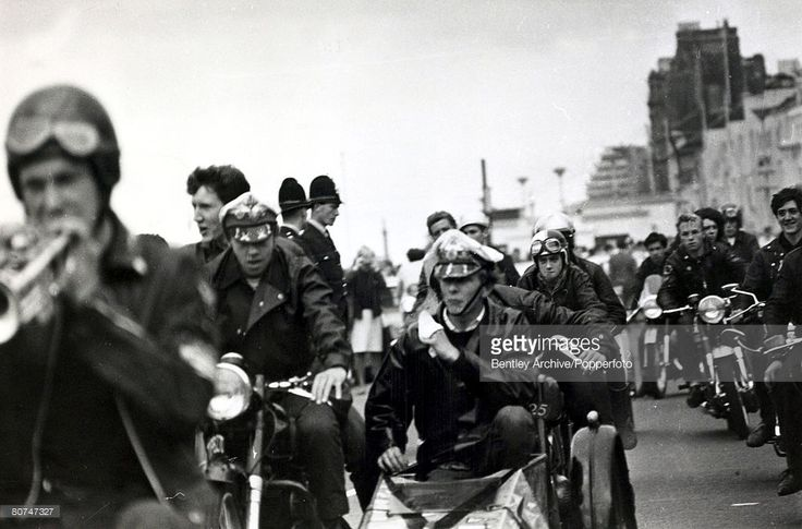 3rd August 1964, A group of 'Rockers' riding into Hastings, Sussex with police…
