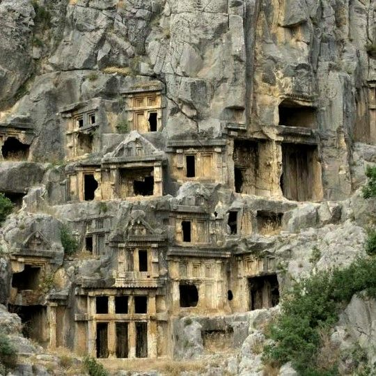 Antalya, Turkey - ancient Greek rock-cut tombs in the small town of Kale, Antalya Province