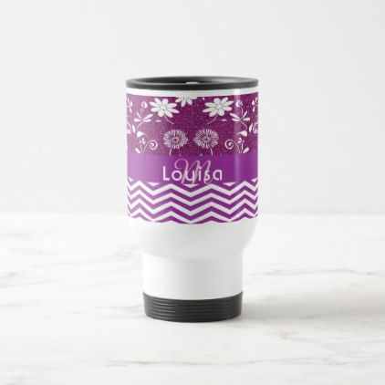 #Monogrammed purple chevron zigzag pattern floral travel mug - #flower gifts floral flowers diy