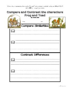 Frog and Toad Compare and Contrast CCSS aligned