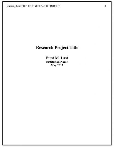 Best  Apa Title Page Example Ideas On   Title Page