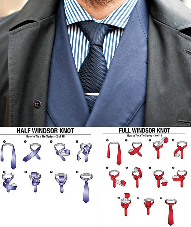 Always go with the classic windsor knot for your tie, but use the size of your head to determine whether you should go half or full windsor. | 27 Unspoken Suit Rules Every Man Should Know