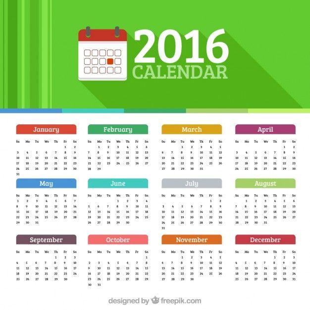 2016 calendario Vector Gratis