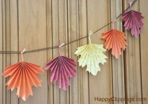 Do-It-Yourself Colorful Folded Paper Fall Leaves
