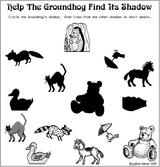 Great matching idea for Groundhog's Day