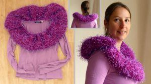 Mijn moeder is ooit begonnen aan een mooie paarse sjaal. Deze heeft ze niet afgemaakt, nu mocht ik hem gebruiken, Ik heb een mooie volle kraag gemaakt van de sjaal.