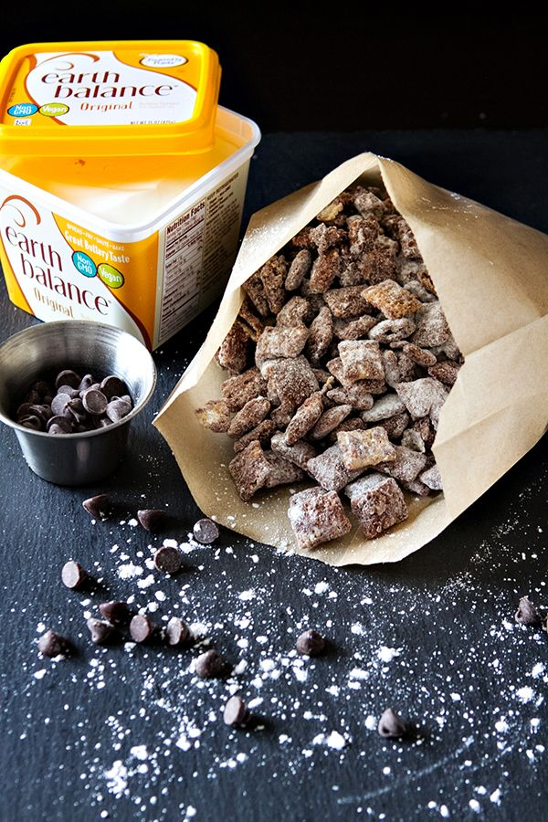 Chocolate, peanut butter and crunchy rice cereal combine for this summer favorite Vegan Puppy Chow recipe!