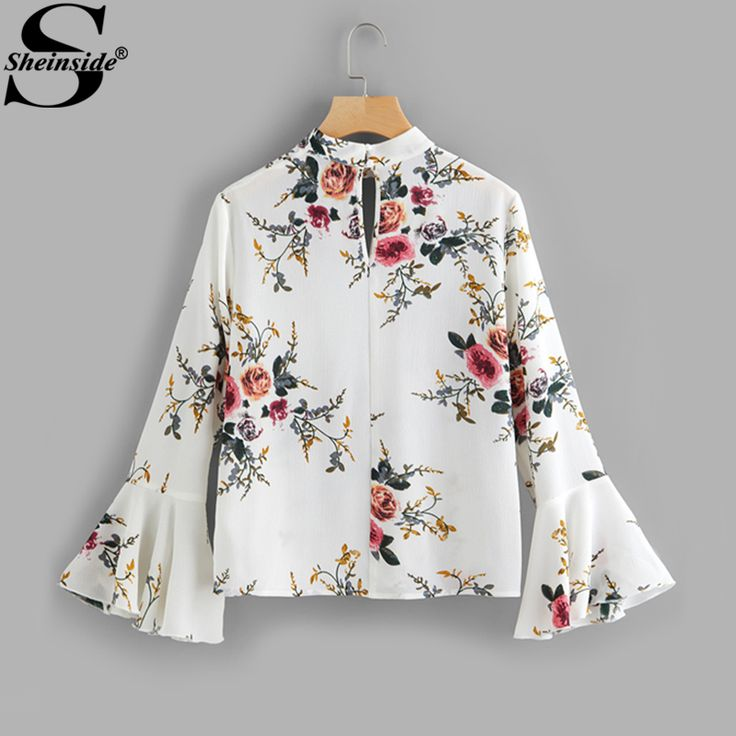 Sheinside Floral Print V Neck Flare Sleeve Double Keyhole Blouse Band Collar Long Sleeve Sexy Ruffle. Click visit to buy #Blouse #Shirt #BlouseShirt