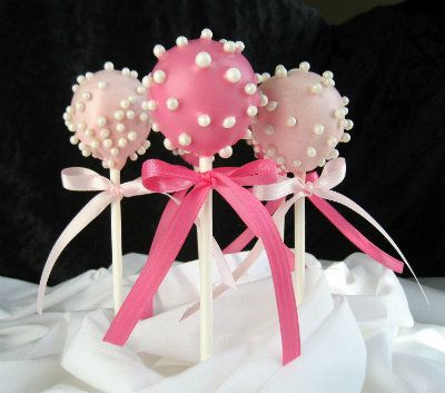 Pink Pearl Baby Shower Cake Pops