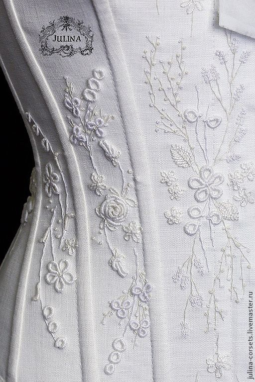 """Купить Корсет """"Графиня Элен"""" 2 - белый, корсет, вышивка, белая вышивка, свадебная вышивка"""