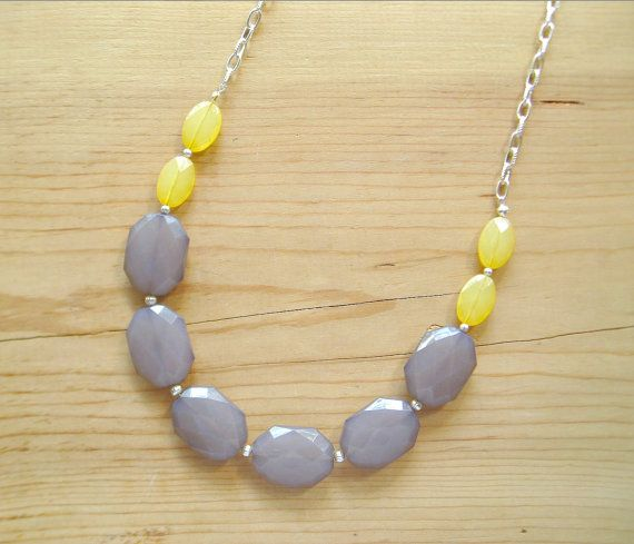 Yellow & grey long necklace... these are great colors together and I could see me wearing them with so many things.