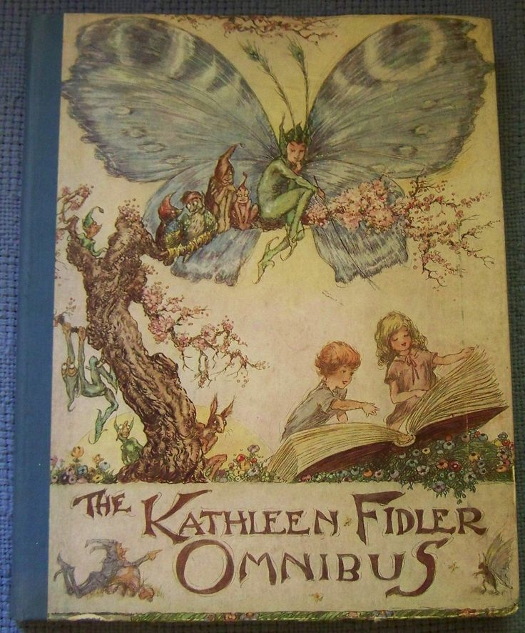 1953 The Kathleen Fidler Omnibus. Illustrated by A H Watson  Fairies and elves watching children read book