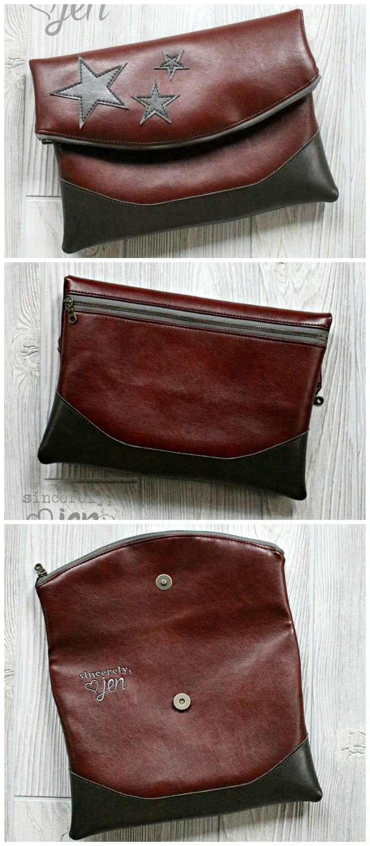 Free fold over clutch bag purse sewing pattern. This one is made in leather, but it looks great in fabric too. Free clutch sewing pattern Heidi from Swoon patterns. Photos by Jenny Greene