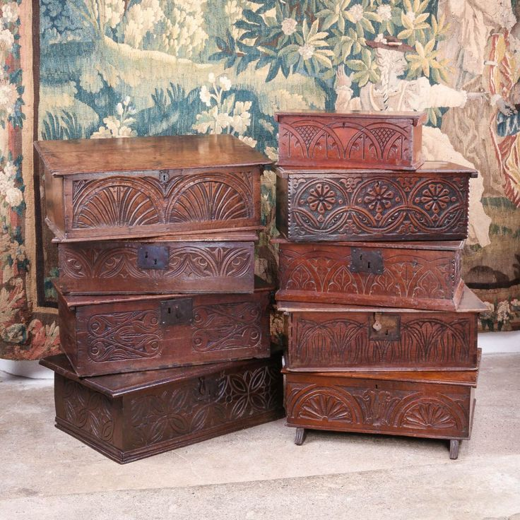17th century carved oak boxes, Marhamchurch antiques