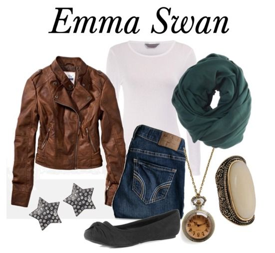 """OUAT: """"Emma Swan (Snow White's Daughter) plays the savior in this show. She also becomes the Deputy for Storybrook. As such, her wardrobe is simple: She usually wears her trusty leather jacket, a white t-shirt/tank, and a nice pair of jeans. Don't be fooled by the simple pieces, though – her style isn't boring! Accessories make all the difference here: I used a green scarf, watch necklace, ring, and star earrings to spruce up this look. Then, for your hair, just curl it all over and tousle."""""""