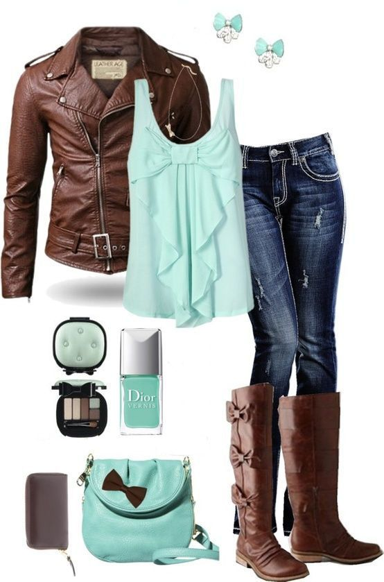 MINT GREEN! Mint is hot for Fall 2013! Mint & Chocolate Bows Outfit ღ