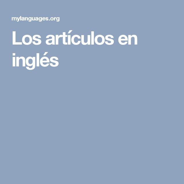 Los artículos en inglés