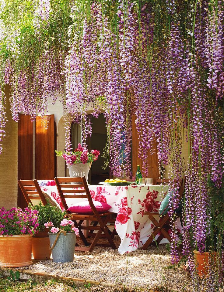 En el porche  Macetas de terracota y plantas de Jardiland. Mecedora roja de Ikea. Baldosas de una antigua era. El mueble