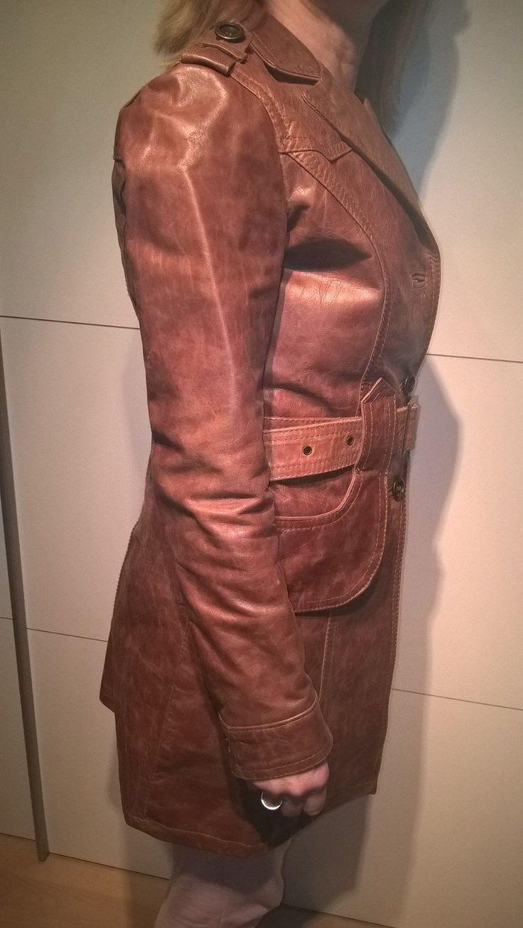 Ledermantel Damen, braun, Größe S/XS ungetragen, Vintage Look