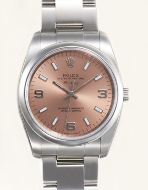#Rolex #Air_King 114200 - A beautiful unisex wristwatch with salmon arabic dial #swisswatchdealers