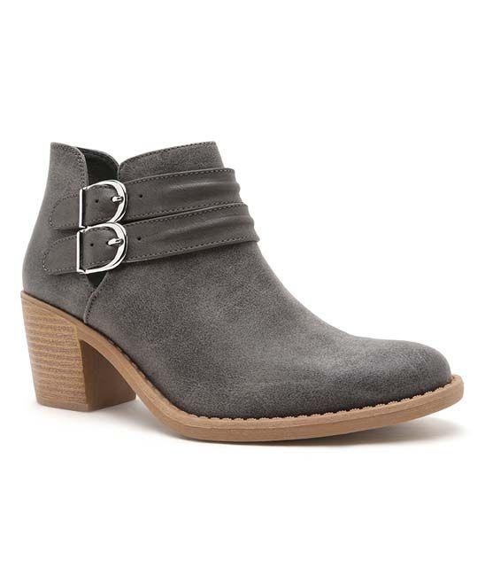 Size 7 Gray Double-Strap Tobin Bootie