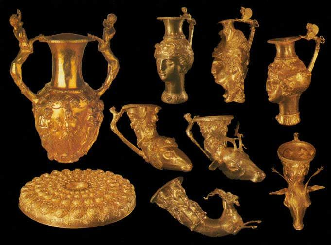 The Panagyurishte Treasure, Bulgaria | Thracian. It is dated from the 4th-3rd centuries BC, and is thought to have been used as a royal ceremonial set by the Thracian king Seuthes III.