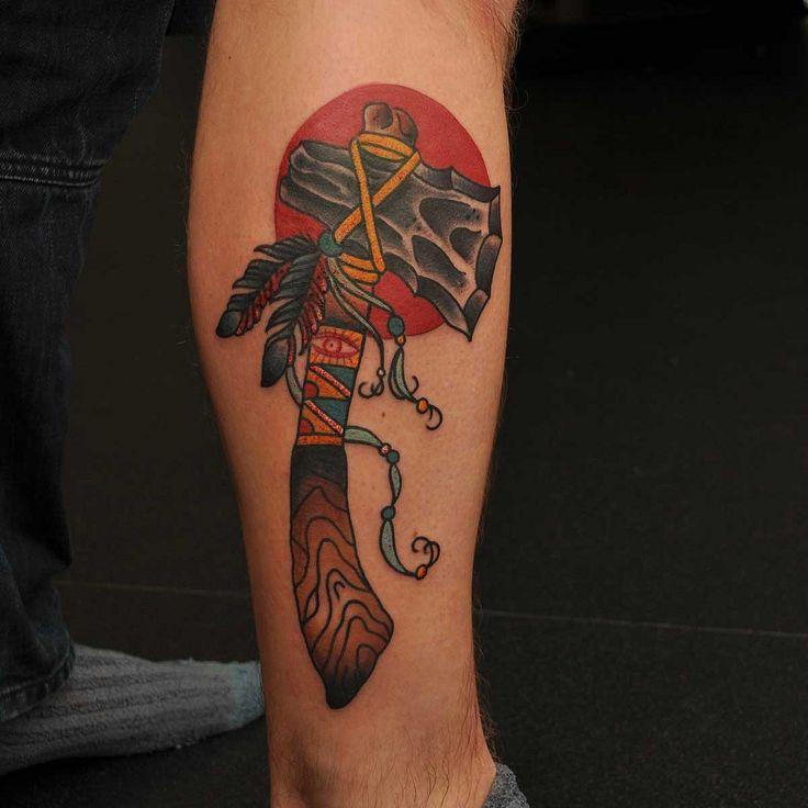 Traditional Tomahawk Axe Tattoo