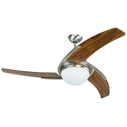Juna Stainless Steel 54-Inch Two-Light Ceiling Fan with Three Blades